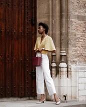 top,blouse,polka dots,high waisted jeans,cropped jeans,slingbacks,bucket bag