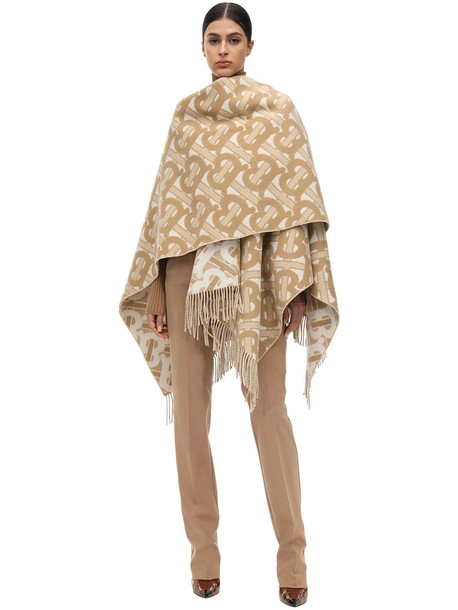 BURBERRY Fringed Merino Wool & Cashmere Cape in beige