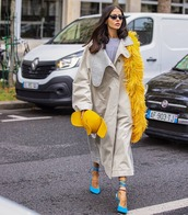 scarf,slingbacks,trench coat,top,feathers,oversized