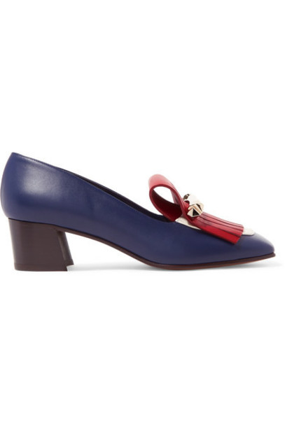 Valentino - Valentino Garavani Uptown Fringed Color-block Leather Pumps - Navy