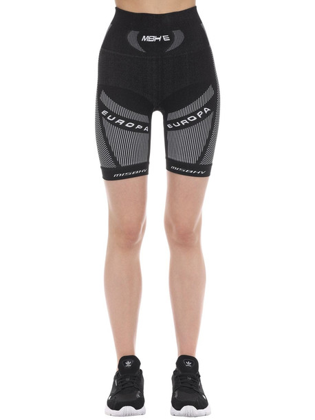 MISBHV Active Techno Jersey Sport Biker Shorts in black / white