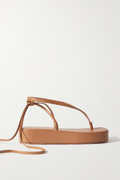 Amina Muaddi - Jamie Leather Platform Sandals - Brown
