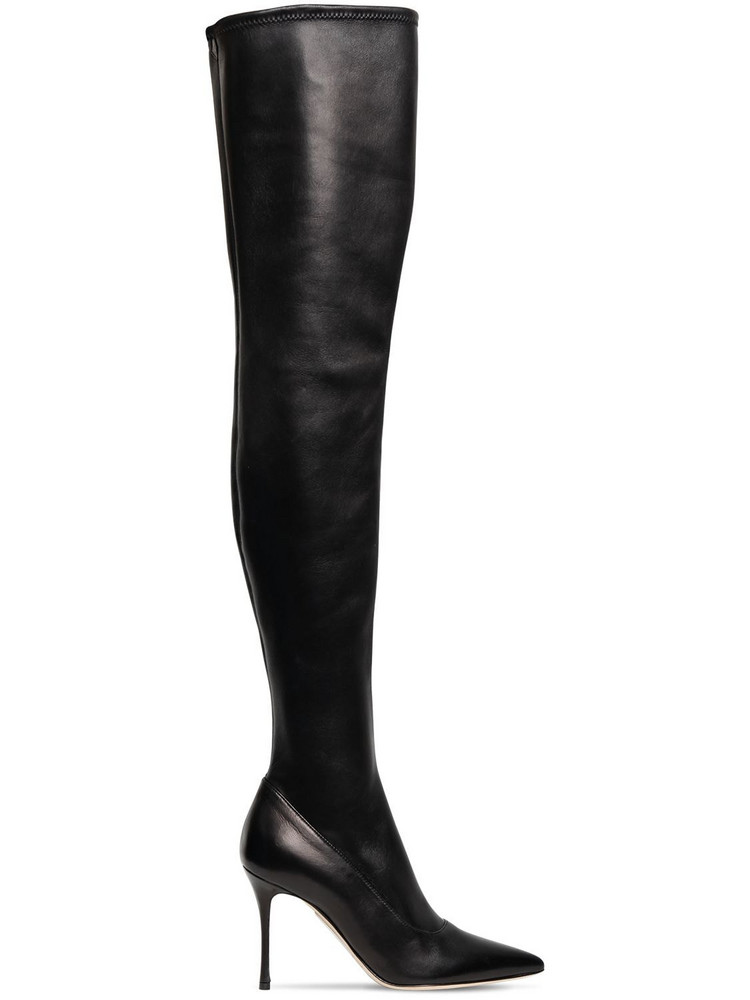 SERGIO ROSSI 90mm Stretch Leather Over-the-knee Boots in black