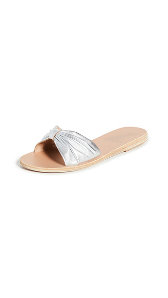 Ancient Greek Sandals Mimi Bow Slides in silver