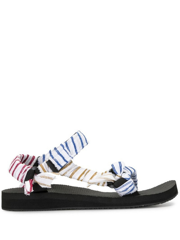 By Any Other Name Trekky striped strappy sandals in black