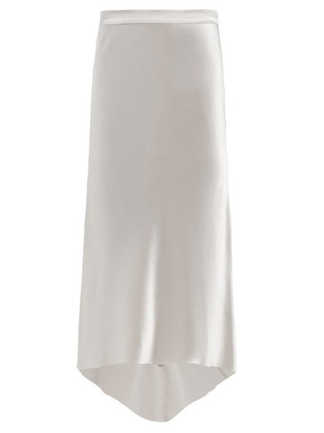 Raey - Bias Cut Silk Satin Midi Skirt - Womens - Light Grey