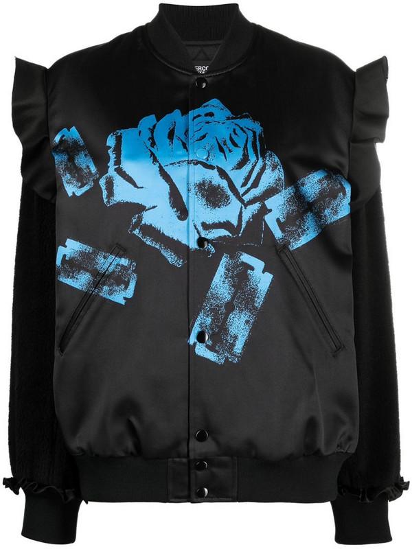Undercover rose-print ruffle bomber jacket in black