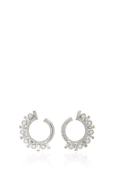 Colette Jewelry 18K White Gold and Diamond Earrings in silver