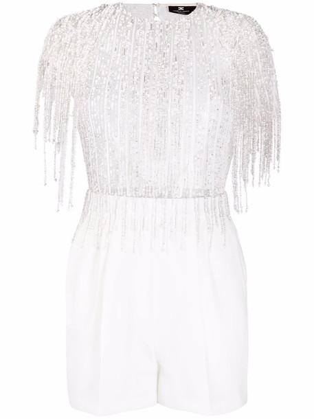Elisabetta Franchi embellished open-back playsuit - White