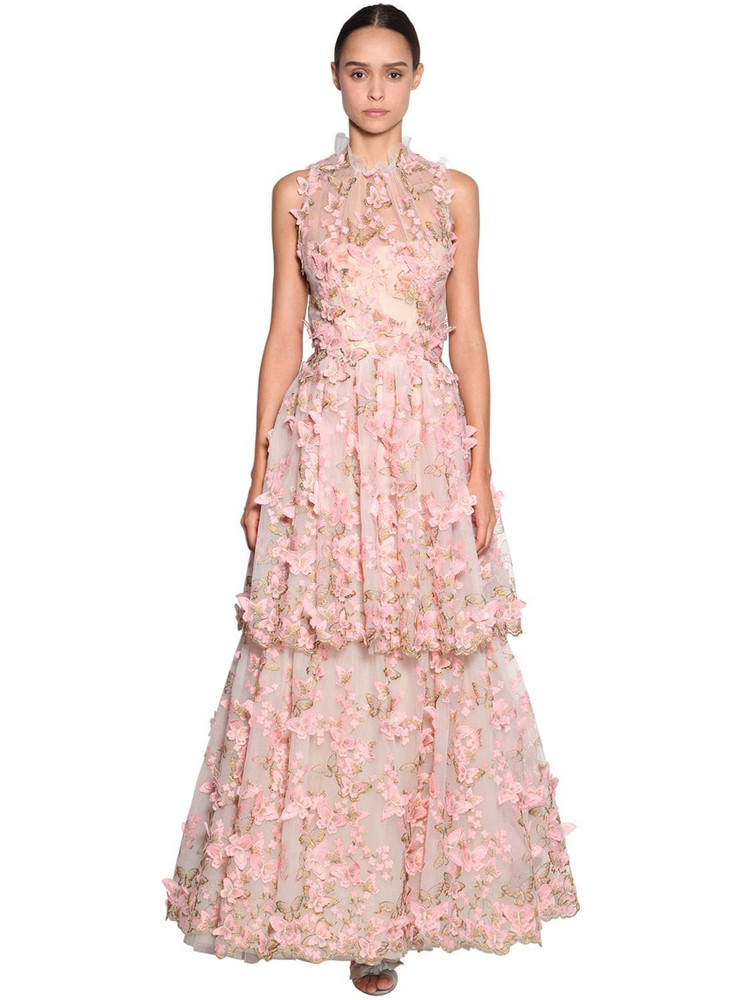 LUISA BECCARIA Embroidered Tulle Organza Dress in pink
