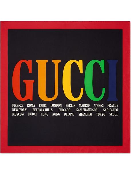 Gucci Cities print silk scarf in black