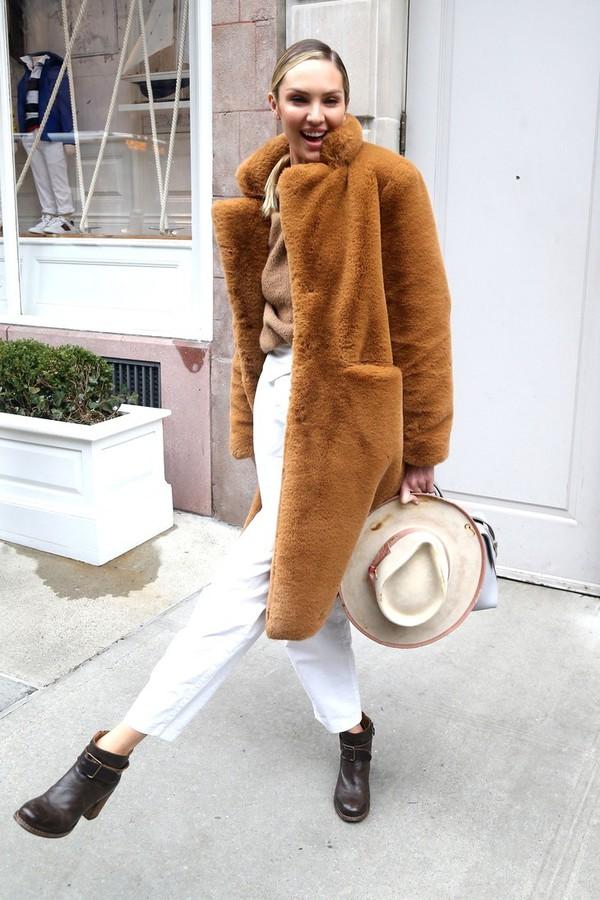 coat candice swanepoel kendall jenner streetstyle streetwear model model off-duty