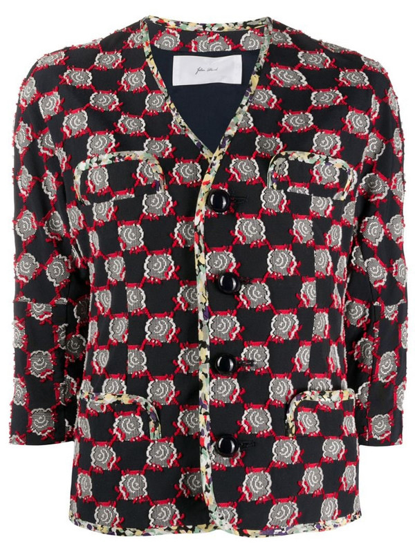 Julien David floral embroidered cropped sleeve jacket in blue