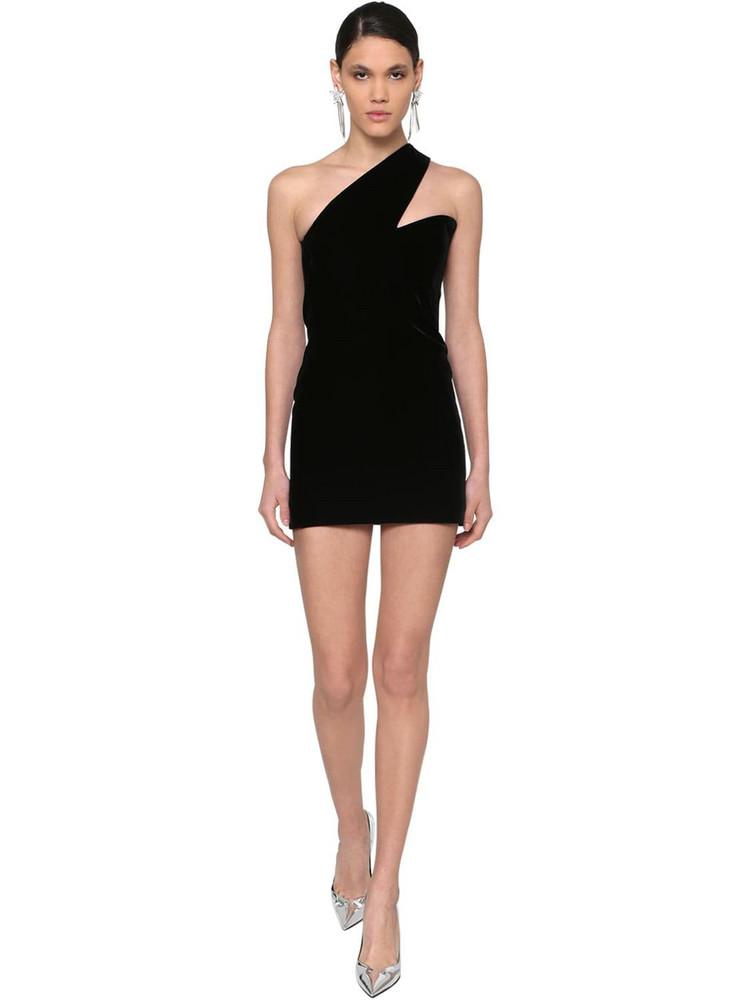 SAINT LAURENT One Shoulder Velvet Mini Dress in black