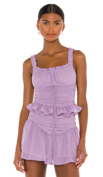 THE JETSET DIARIES Devon Top in Lavender in lilac / white