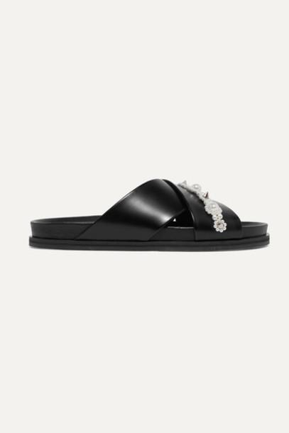 Simone Rocha - Embellished Leather Slides - Black