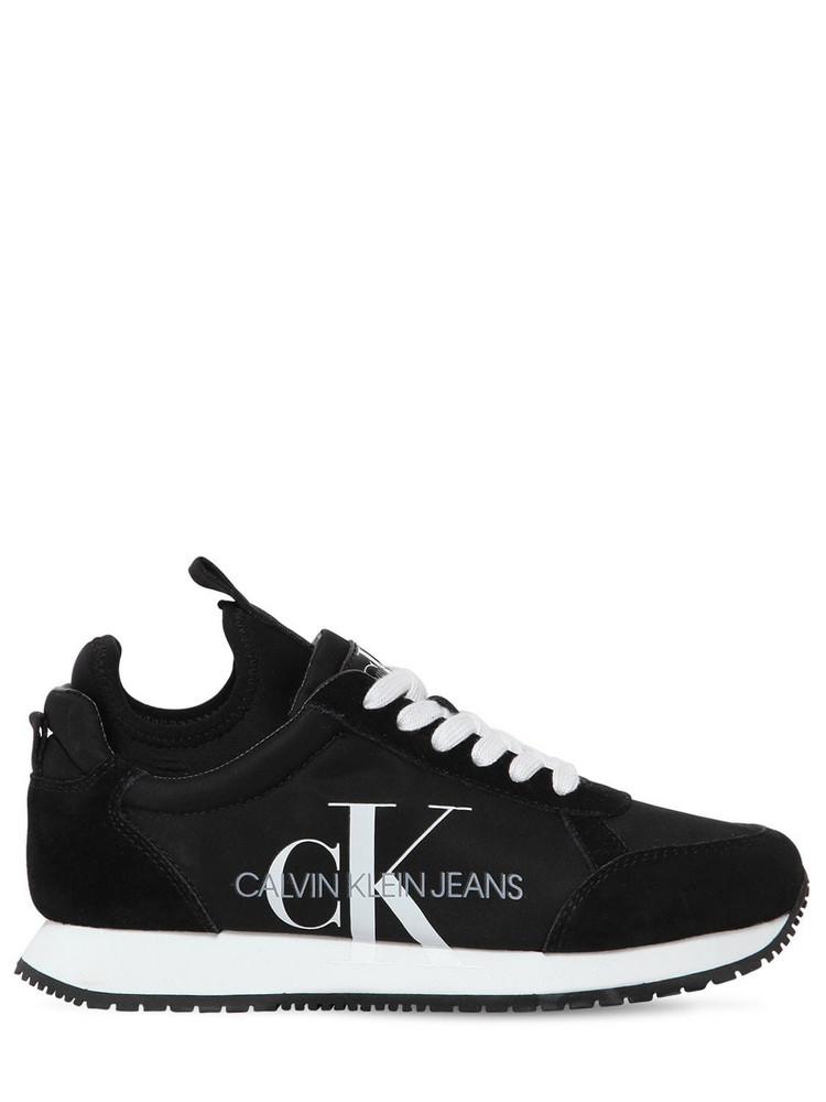 CALVIN KLEIN JEANS 20mm Josslyn Nylon & Suede Sneakers in black