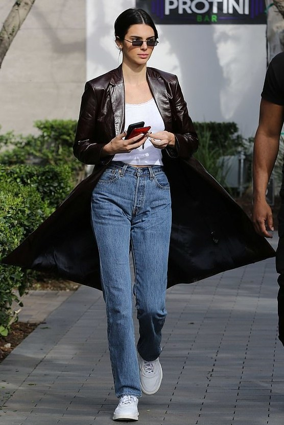 coat trench coat kendall jenner kardashians streetstyle jeans spring outfits
