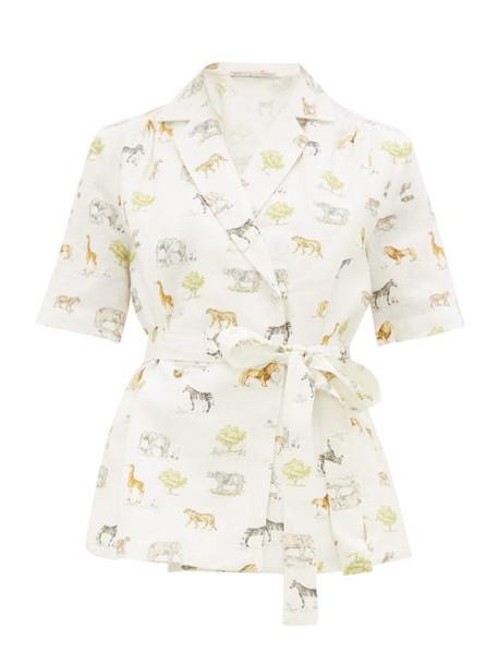Emilia Wickstead - Eudora Safari Print Linen Shirt - Womens - Cream Print