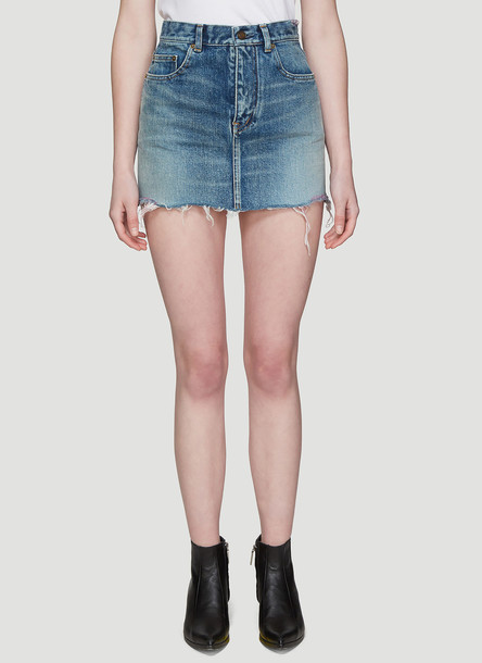 Saint Laurent Pink Raw Hem Denim Mini Skirt in Blue size 27