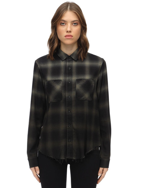 AMIRI Cotton & Viscose Ombré Flannel Shirt in green