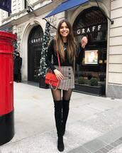bag,crossbody bag,over the knee boots,black boots,heel boots,tights,plaid skirt,mini skirt,black top,long sleeves