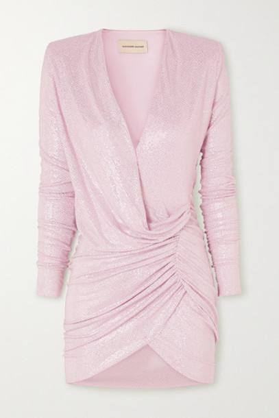 Alexandre Vauthier - Ruched Crystal-embellished Stretch-jersey Mini Dress - Pink