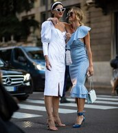 dress,midi dress,blue dress,polka dots,sandal heels,white bag