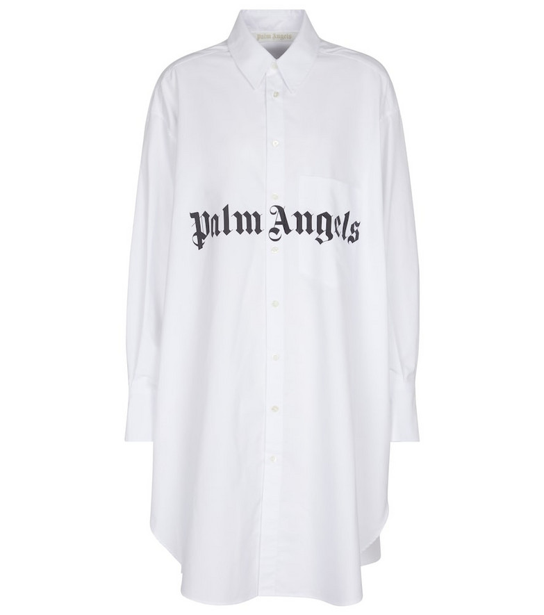Palm Angels Logo oversized cotton-blend shirt in white