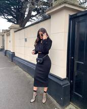 sweater,black sweater,midi skirt,bodycon skirt,black skirt,pumps,socks,gucci bag,black bag