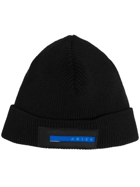 Aries logo-patch beanie hat in black