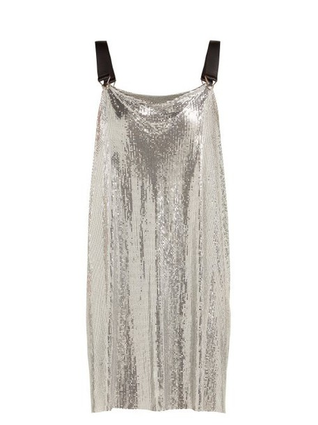Paco Rabanne - Metal Mesh Cowl Neck Mini Dress - Womens - Silver