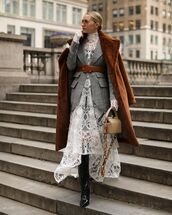 dress,white dress,turtleneck dress,lace dress,long sleeve dress,asymmetrical dress,knee high boots,black boots,faux fur coat,grey blazer,plaid blazer,crossbody bag,belt