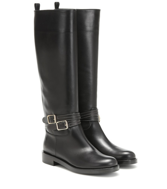 Gianvito Rossi Leather riding boots in black