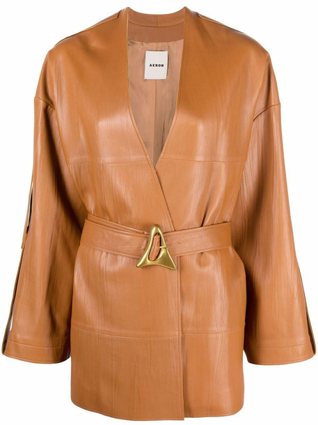Aeron Bocon belted leather coat - Brown