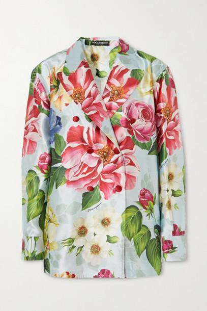 Dolce & Gabbana - Oversized Double-breasted Floral-print Silk-satin Blazer - Blue