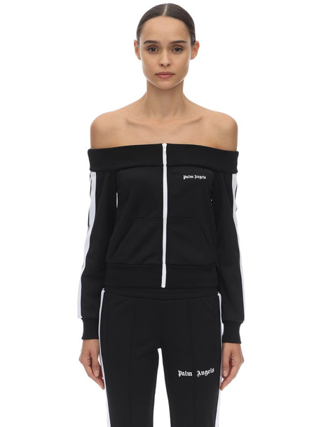 PALM ANGELS Off-the-shoulder Acetate Track Jacket in black