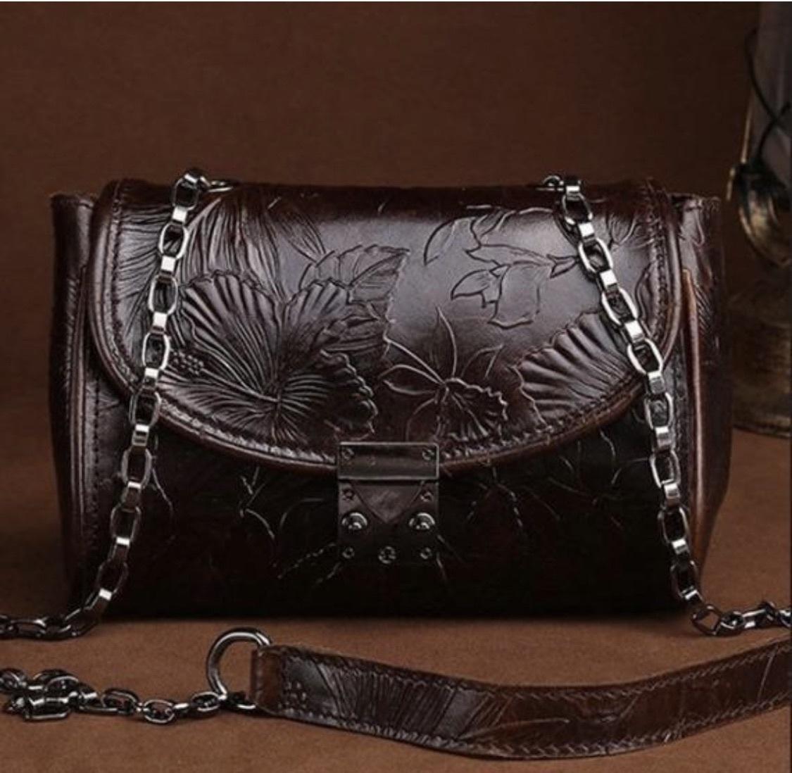 bag genuine leather bag shoulder bag cross body bag embossed leather