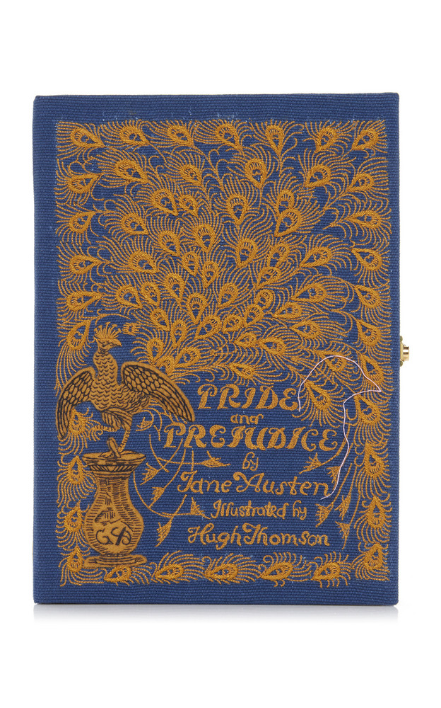 Olympia Le-Tan Pride and Prejudice Appliquéd Embroidered Canvas Clutch in navy