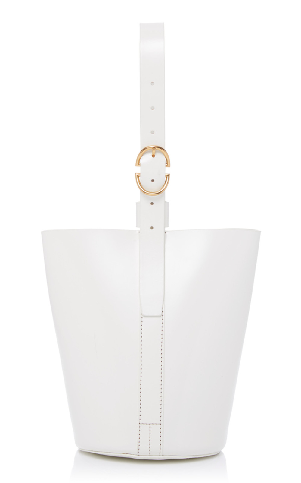 Trademark Small Classic Leather Bucket Bag in white