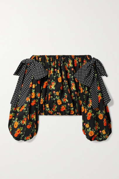 CAROLINE CONSTAS - Mason Off-the-shoulder Printed Cotton-blend Poplin Top - Black