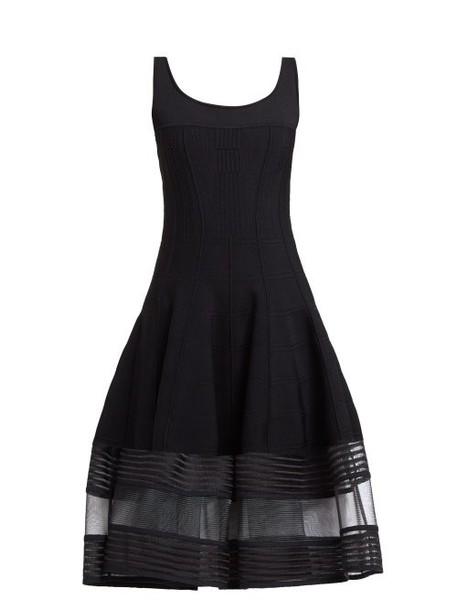 Alexander Mcqueen - Mesh Panel Jersey Midi Dress - Womens - Black