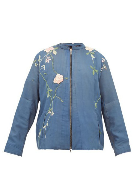 By Walid - Floral Embroidered Silk Jacket - Womens - Black Multi