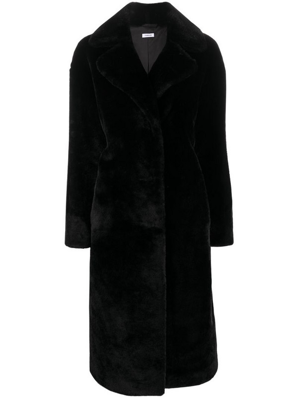 P.A.R.O.S.H. faux fur midi coat in black