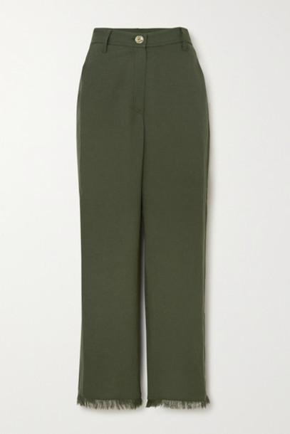Nanushka - Theo Frayed Woven Straight-leg Pants - Dark green