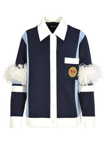 Miu Miu Jacket Feathers in blue / white