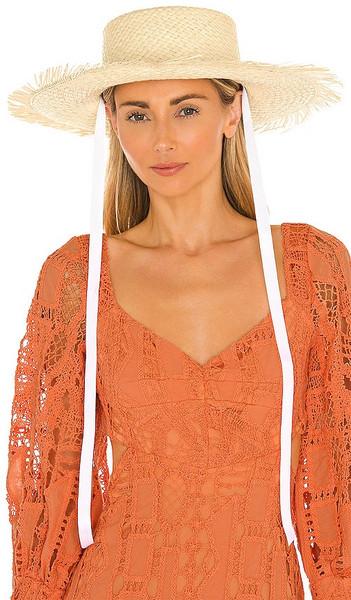 SENSI STUDIO Hippie Beach Hat in Neutral in natural / white