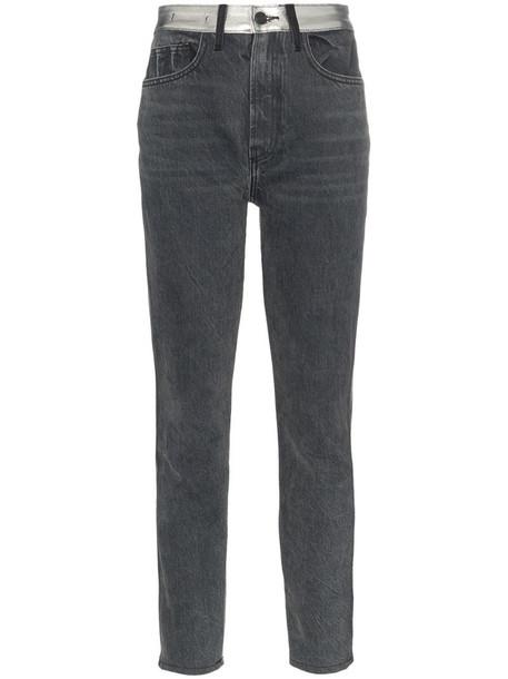 Jordache high-waisted straight leg metallic panel jeans in grey