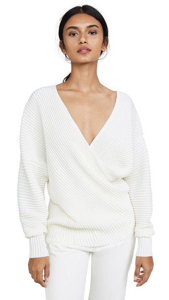 Victoria Victoria Beckham Drape Front Sweater in ivory