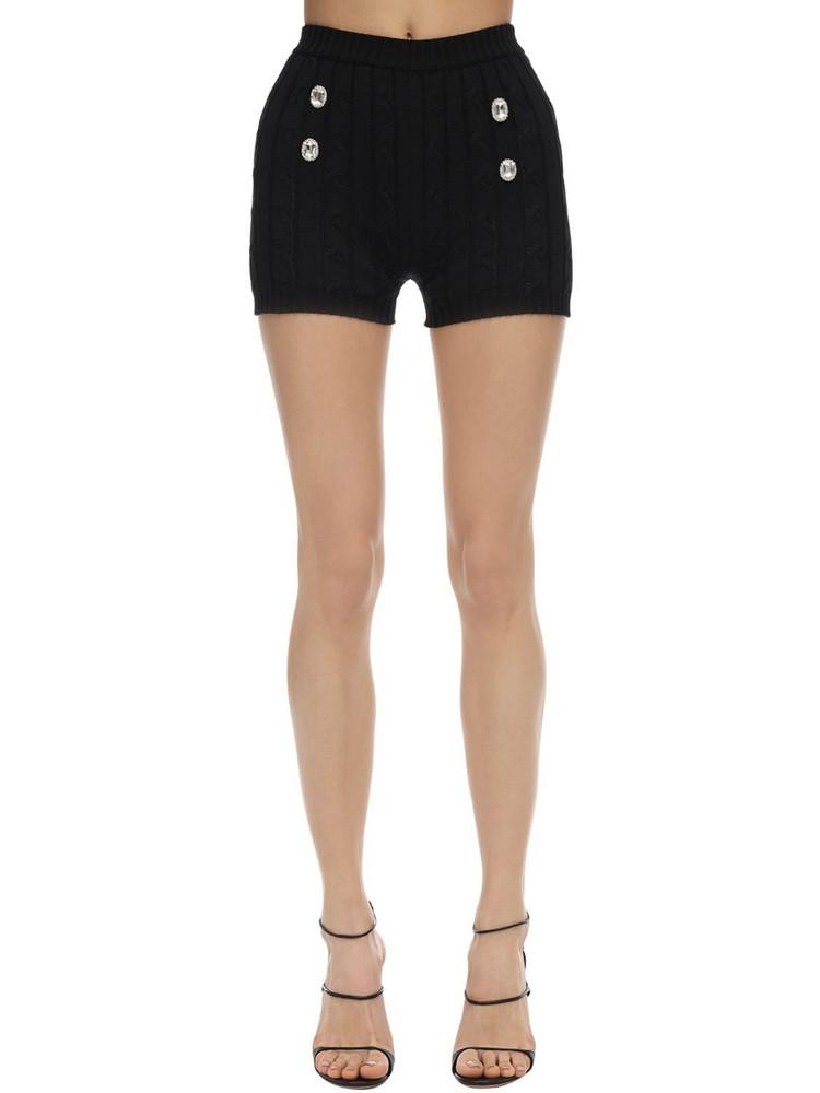 GIUSEPPE DI MORABITO High Waist Cotton Knit Shorts W/crystals in black